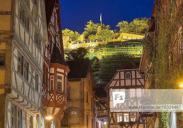 Germany  Bavaria  Klingenberg am Main  old town and castle ruin Clingenburg