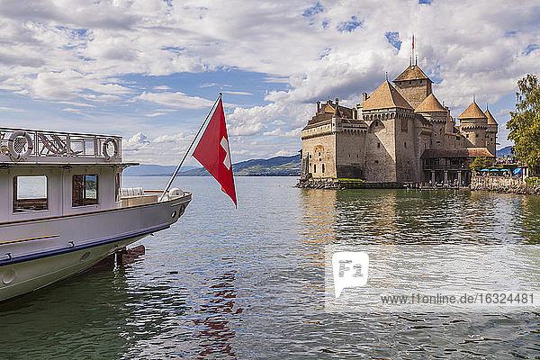 Switzerland  Veytaux  Lake Geneva  paddlesteamer at Chillon Castle