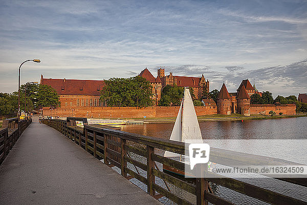 Poland  Malbork Castle  footbridge on Nogat River