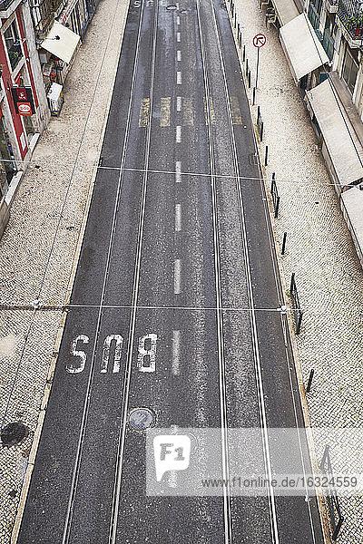 Portugal  Lisbon  Chiado  road with bus marking