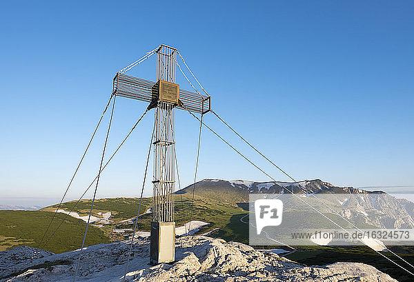 Austria  Lower Austria  Vienna Alps  Summit cross on Waxriegel  Schneeberg in the background