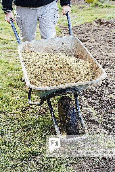 Mann transportiert Sand in einer Schubkarre Mann transportiert Sand in einer Schubkarre
