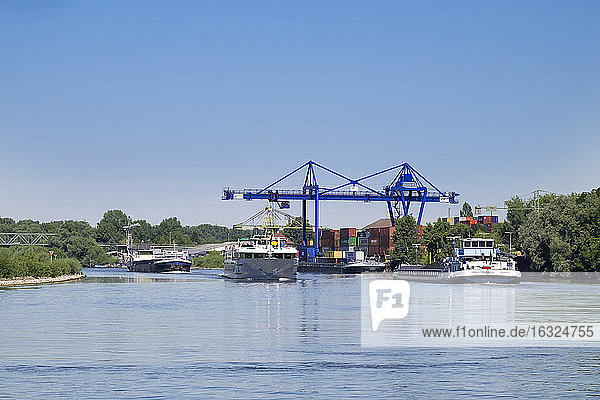 Germany  Hesse  Ginsheim-Gustavsburg  container harbour on Main river