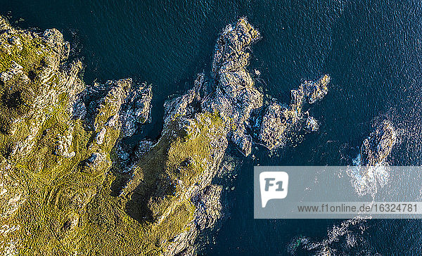 United Kingdom  Scotland  Northwest Highlands  aerial view of rocky coast