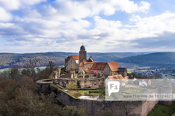 Germany  Hesse  Odenwaldkreis  Breuberg  Aerial view of Breuberg Castle