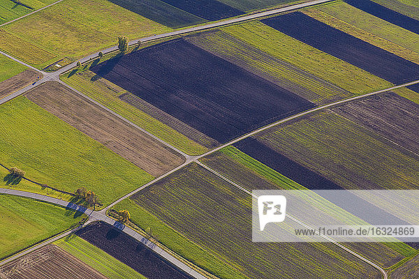 Germany  Baden-Wuerttemberg  aerial view of fields in the Swabian mountains