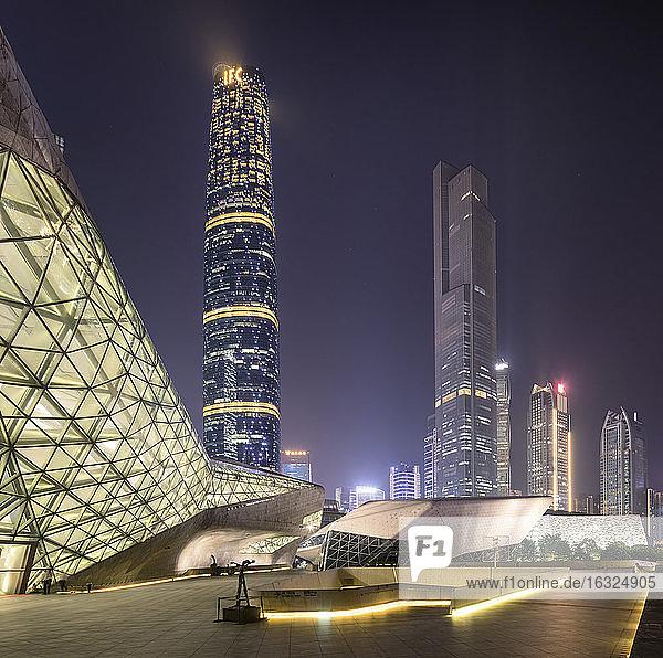 China,  Guangzhou,  opera house at night