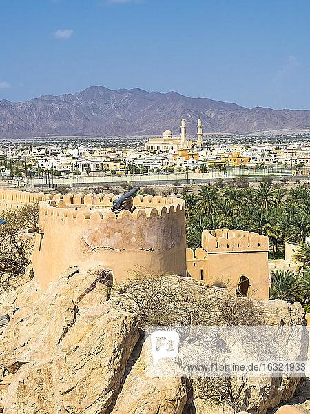 Oman  Al Batinah Region  Al Hajar Mountains  Fort Nakhal  oasis Nakhal and Jebel Nakhl massif