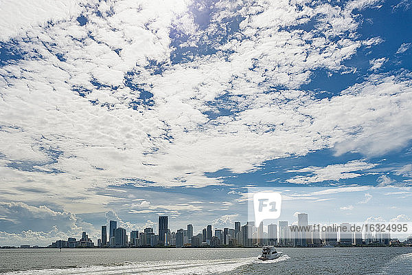 USA  Florida  Miami  Downtown  skyline with high-rises and motorboat