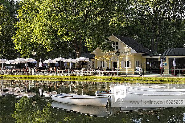Austria  Lower Austria  Baden  Doblhoff Park with pond and cafe