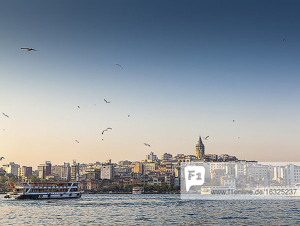 Turkey  Istanbul  view to Galata Tower over Golden Horn