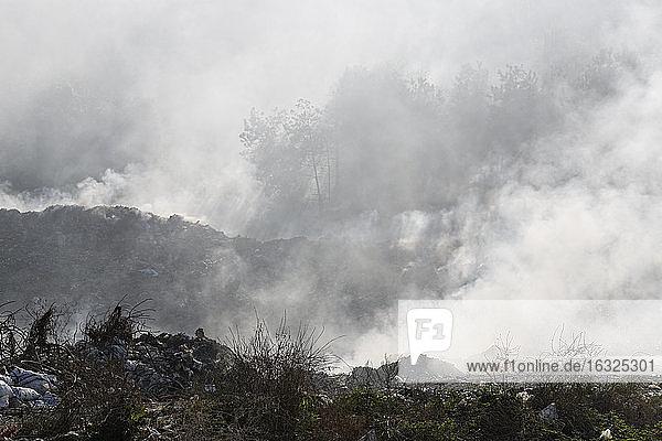 Turkey  Black Sea Coast  Inebolu  burning dump