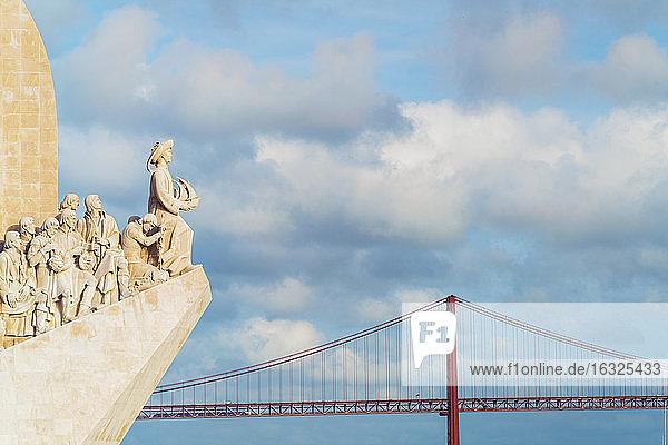 Portugal  Lisbon  view of Padrao dos Descobrimentos and Ponte 25 de Abril