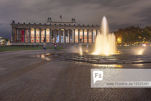 Germany  Berlin  view to lighted Altes Museum