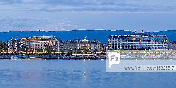 Switzerland  Geneva  Lake Geneva  luxury hotels at dusk