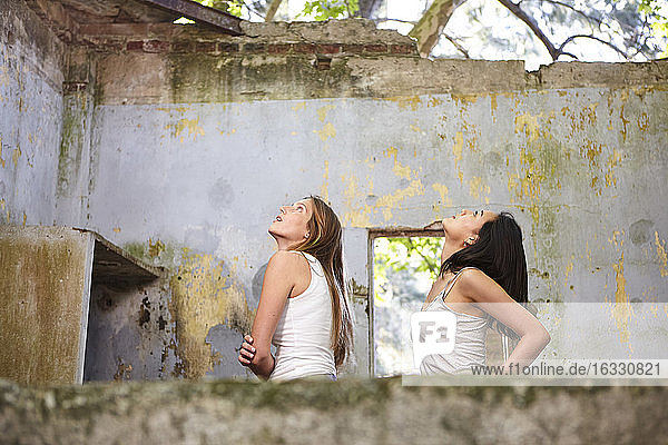 Young women in abandoned house