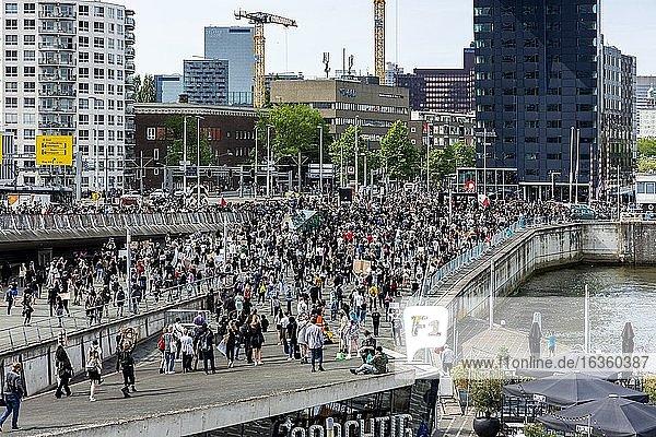 Rotterdam  Netherlands. Black Lives Mstter Demonstration at Down Town Erasmusbrug  to Protest against Police Violence & Racism  Triggered by the Dead of George Floyd a week before. June 3  2020.