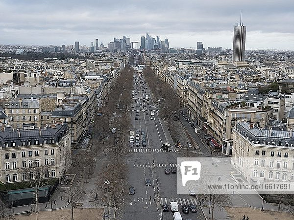 City view of Arc de Triomphe de l'Étoile in the direction of la Défense  Paris  France  Europe