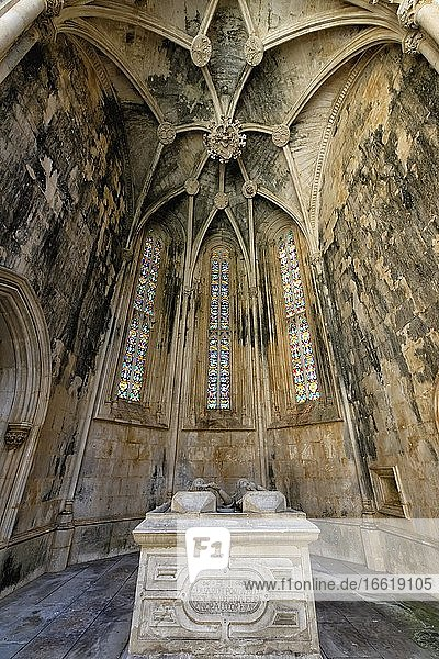 King Duarte and Queen Leonor de Aragon Grave  Imperfect or Unfinished Chapels  Dominican Monastery of Batalha or Saint Mary of the Victory Monastery  Batalha  Leiria district  Portugal  Europe