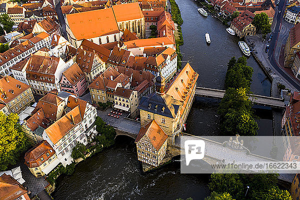 Regnitz riiver and town hall at Bamberg  Bavaria  Germany