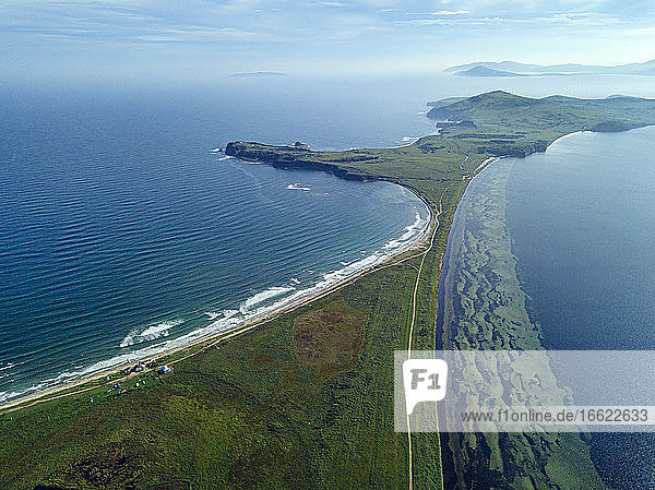 Aerial view of Novgorod Bay and coastline of Krabbe Peninsula