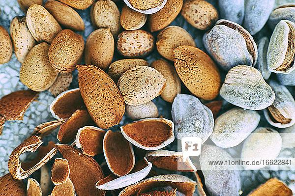 Schalen und frische ungeschälte Mandeln Schalen und frische ungeschälte Mandeln
