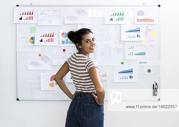 Smiling young businesswoman with hands on hip looking over shoulder while standing in front of whiteboard at office