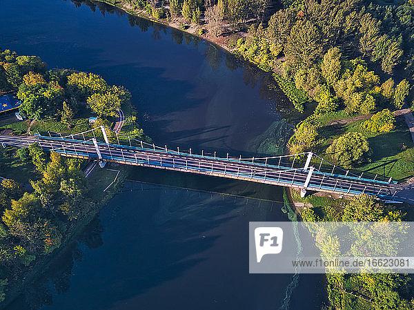 Aerial view of bridge over Kotorosl River