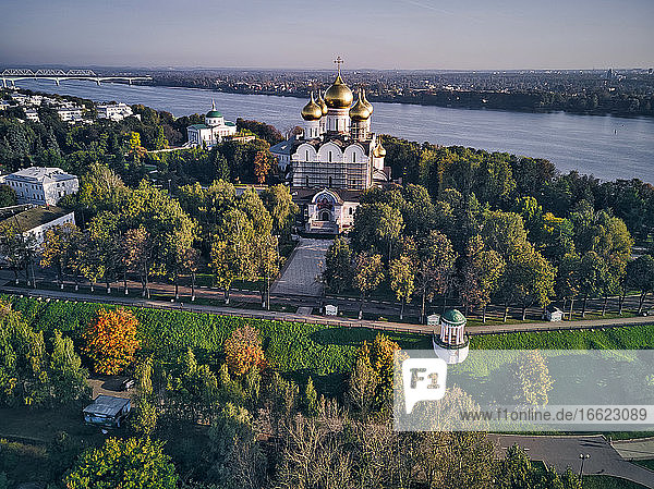 Aerial view of Assumption Cathedral by Volga River in city against sky  Yaroslavl  Russia