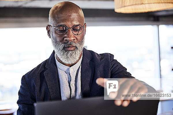Serious mature man working on laptop sitting at home