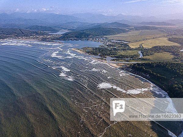 Russia,  Primorsky Krai,  Nakhodka,  Aerial view of coastline of Sea of Japan