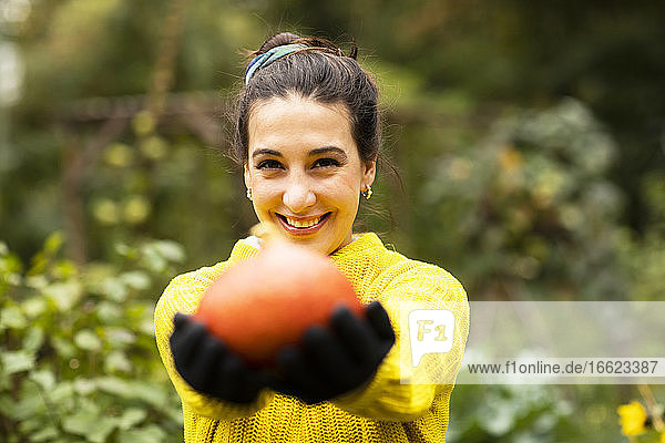Smiling woman holding pumpkin in hand while standing at urban garden