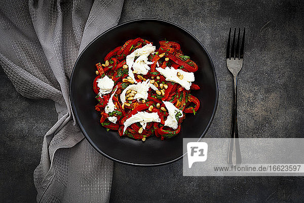 Bowl of vegetarian salad with red bell peppers  mozzarella  roasted pine nuts  parsley and chive