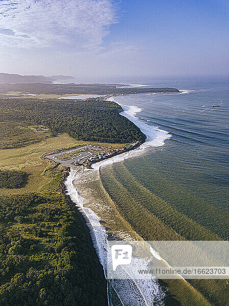 Russia PrimorskyKrai  Nakhodka  Aerial view of coastline of Sea of Japan