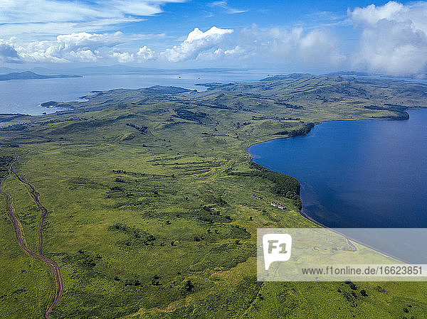 Aerial view of green coastal landscape of Krabbe Peninsula