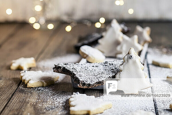 Tree shaped Christmas cookies with powdered sugar