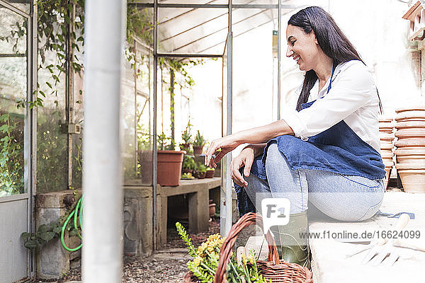 Smiling woman looking down while sitting in garden shed on sunny day