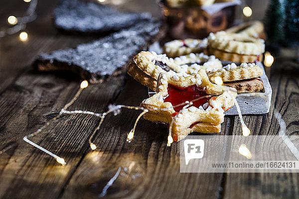 Christmas lights and freshly baked jam cookies