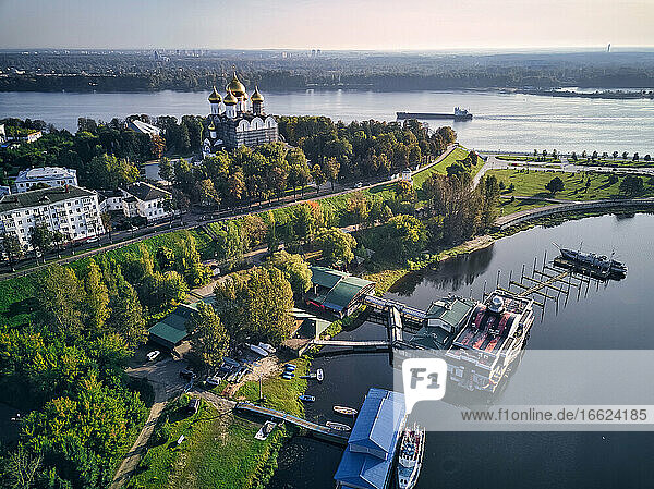 Aerial view of harbor near park at Strelka with Assumption Cathedral by Volga and Kotorosl river crossing  Yaroslavl  Russia