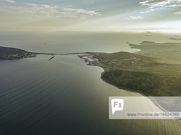 Russia  Primorsky Krai  Zarubino  Aerial view of coastline of Sea of Japan at sunset