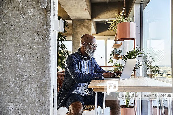 Mature man doing work from home while using laptop