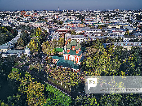 Aerial view of Yaroslavl Museum-Reserve and Spaso-Preobrazhensky Monastery with Church of St Michael the Archangel in city on sunny day  Yaroslavl  Russia