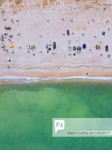 Aerial view of people relaxing atTriozeryebeach