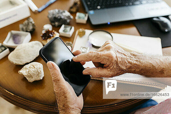 Hands of elderly retired man using smart phone while doing research on fossil and mineral at home