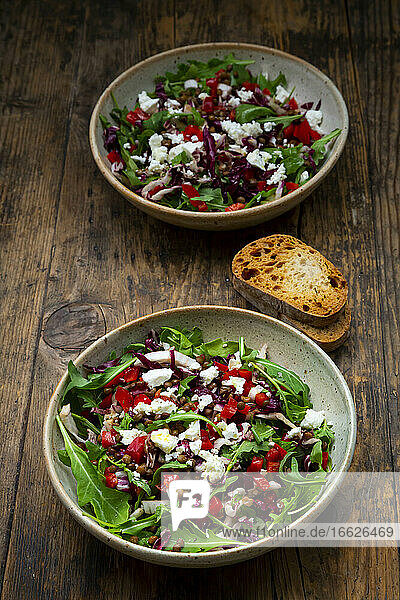 Two bowls of vegetable salad with lentils  arugula  red bell pepper  feta cheese andradicchio