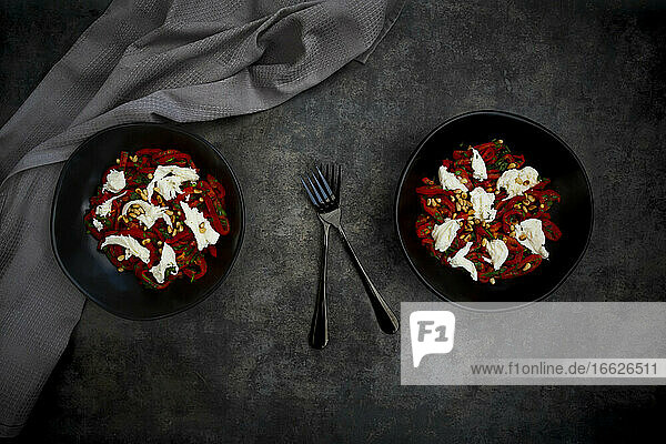 Two bowls of vegetarian salad with red bell peppers  mozzarella  roasted pine nuts  parsley and chive