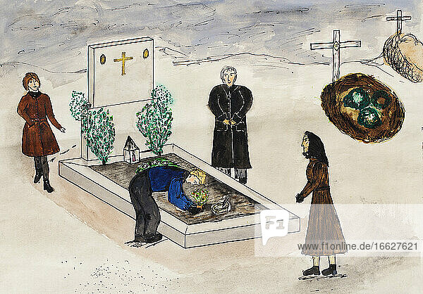 Child's drawing of people on a cemetery at All Saints' Day