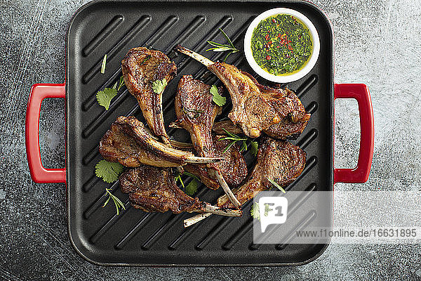 Grilled lamb chops with chimichurri sauce