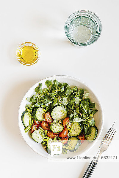 Fresh summer salad with cucumber