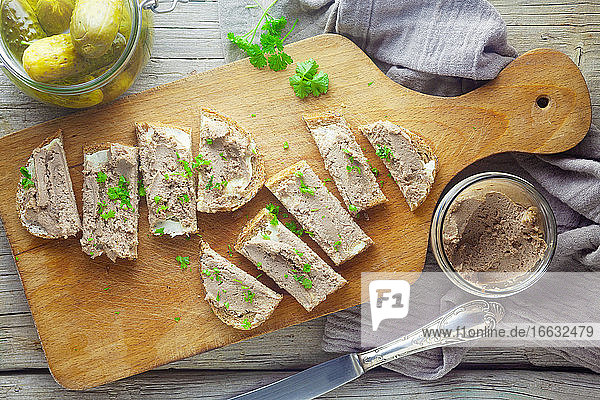 Bread with pâté and gherkins